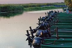 Fishing boats, Danube delta stock images