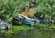 Fishing boats in Danube delta Royalty Free Stock Image