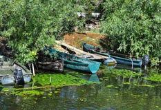 Fishing boats in Danube delta royalty free stock image