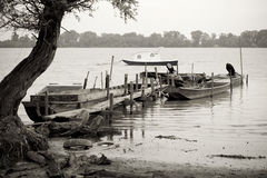 Fishing boats on Danube river Royalty Free Stock Images