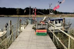 Fishing Boats on Darsser Ort Royalty Free Stock Photography