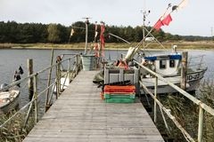 Fishing Boats on Darsser Ort Stock Photo