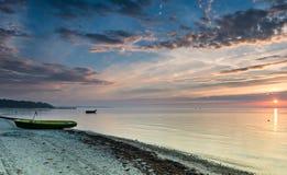 Fishing boats at dawn, Baltic Sea, Latvia Royalty Free Stock Photo