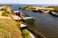 Fishing boats at delta of Ebro river Royalty Free Stock Images
