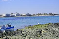 Fishing boats Djerba Tunisia. View on the summer beach. Djerba island Tunisia. Fishing boats Royalty Free Stock Images