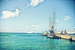 Fishing boats at the dock. Fishing boats on the dock at grand cayman Stock Photo