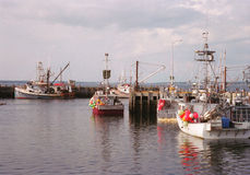 Fishing boats at dock. In New England Royalty Free Stock Photography