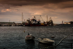 Fishing Boats On The Dock In A Windy Day Royalty Free Stock Image