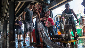 Fishing boats docked Chenggong Fishing Harbor remove fishing goo. Taitung, Taiwan - May 28, 2016 : Fishing boats docked Chenggong Fishing Harbor remove fishing Royalty Free Stock Photo