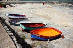 Fishing boats docked. Close up photo of sea fishing boats docked Royalty Free Stock Images