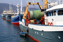 Trawler and longliners fishing boats docked in Celeiro harbor in Spain. Royalty Free Stock Photo