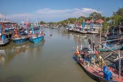 Fishing boats docked at the Port. Petchaburi, Thailand - March 21, 2018 :  Group of fishing boats docked at the Port of  river in fisherman village in Petchaburi Stock Images
