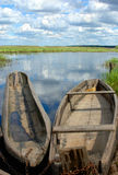 Fishing boats on the edge of water-meadow Stock Image