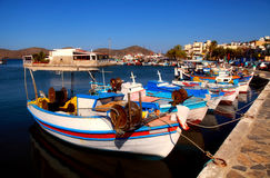Fishing boats in Elounda (Crete, Greece). Elounda is a small fishing town on the northern coast of the island of Crete, Greece Stock Image