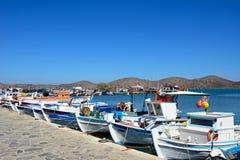 Fishing boats in Elounda harbour, Crete. Royalty Free Stock Photo