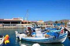 Fishing boats in Elounda harbour, Crete. Royalty Free Stock Photos