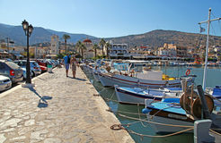 Fishing boats on embankment, Crete, Greece. Stock Photo