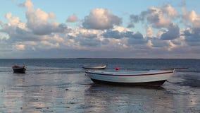 Fishing boats on the empty beach, Hjerting, Jutland, Denmark. stock video footage
