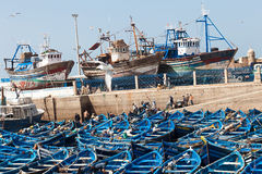 Fishing boats in Essaouira, Morocco. stock photography