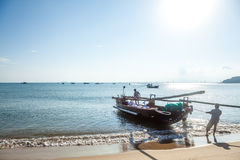 The fishing boats and fisher Royalty Free Stock Images