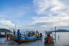 Fishing boats. Fisherman preparing thiers fishing Boats Stock Photo