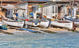 Fishing boats in fishery Royalty Free Stock Images