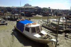 Fishing boats in fishing village during low tide Royalty Free Stock Photography