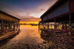 Fishing boats and fishing village sunset Stock Photo