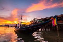 Fishing boats and fishing village sunset Royalty Free Stock Photography