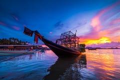 Fishing boats and fishing village sunset Stock Photography