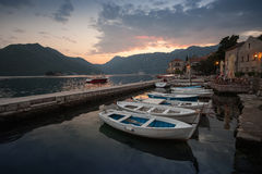Fishing boats float moored in Perast Royalty Free Stock Photos