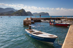Fishing boats float in Petrovac, Montenegro Royalty Free Stock Photos