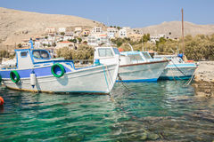 Fishing boats floating on Greek island Kalymnos Stock Photography
