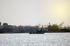 Fishing boats floating. Stock Images
