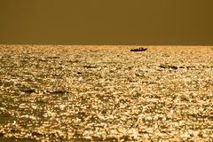 Fishing boats floating in the sea. Fishing boats floating in the sea with the golden light of the morning sun Royalty Free Stock Image