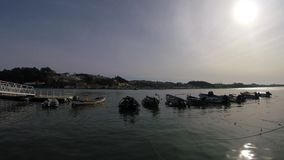Fishing Boats at Foz do Douro, Porto. A view of Fishing Boats Gaia city at Foz do Douro, Porto, PORTUGAL stock footage