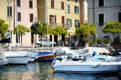 Fishing boats in Gargnano Stock Images