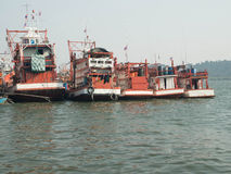 Fishing boats. Gather in Phangnga bay Royalty Free Stock Photos