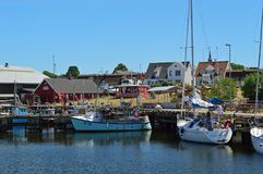 Fishing boats at Gilleleje Harbour. Gilleleje on the Danish Riviera in North zealand. Gilleleje is one of the main towns of the Gribskov municipality in Region royalty free stock image