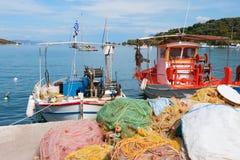 Fishing boats in Greek harbor royalty free stock photos