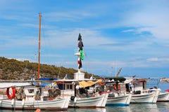 Fishing boats in Greek harbor stock photo