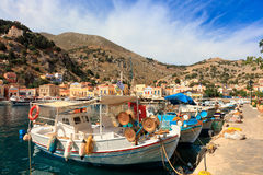 Fishing boats on the Greek island of Symi. Stock Photo