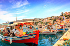Fishing boats on the Greek island of Symi. royalty free stock photos