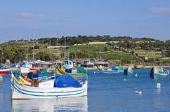 Fishing Boats, Marsaxlokk Malta Stock Photo