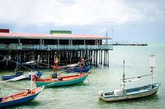 Fishing boats and guest Houses. In the sea ,HUAHIN Thailand Royalty Free Stock Photography