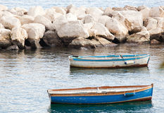Fishing boats in the Gulf of Naples Royalty Free Stock Images