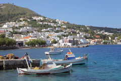 Fishing boats in the harbor of Agia Marina, Leros Stock Photos