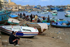Fishing boats in the harbor of Alexandria Royalty Free Stock Photography