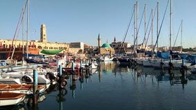 Fishing boats in the harbor. Of the ancient city of the middle eastern country stock footage