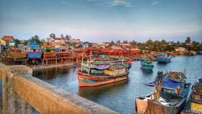 Fishing boats in harbor of central Vietnam Royalty Free Stock Photo
